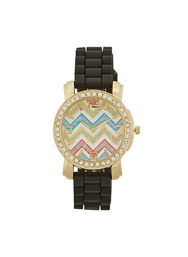 Rhinestone Trimmed Watch with Chevron Print,BLACK,large