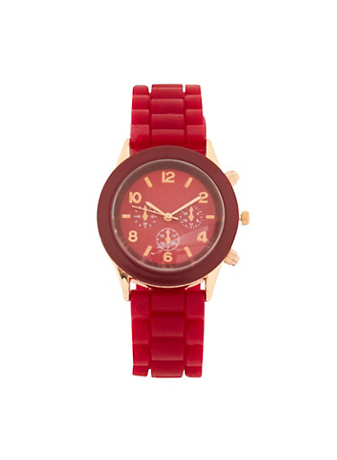 Colored Silicone Strap Watch,WINE,large