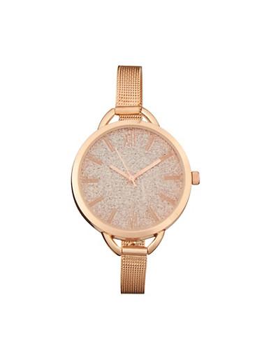 Glitter Face Watch with Metal Mesh Strap,ROSE,large