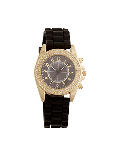 Rubber Strap Watch with Rhinestone Bezel,BLACK,large
