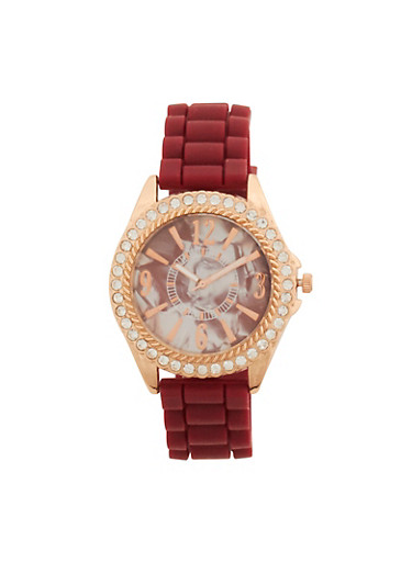 Rhinestone Face Watch with Silicone Strap,WINE,large