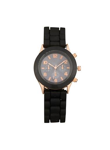 Rubber Strap Watch,BLACK,large