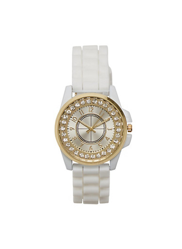 Rubber Watch with Studded Face,WHITE,large
