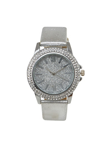 Rhinestone and Glitter Watch with Metallic Band,SILVER,large
