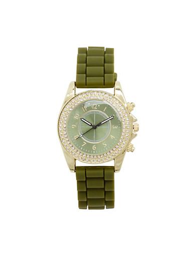 Woven Rubber Strap Rhinestone Bezel Watch,OLIVE,large