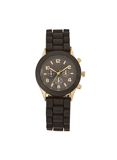 Rubber Watch with Dyed Metal Bezel,BLACK,large