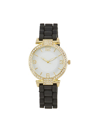 Round Face Watch with Rhinestones,BLACK,large