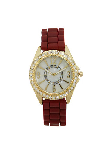 Woven Rubber Strap Watch with Rhinestone Bezel,WINE,large