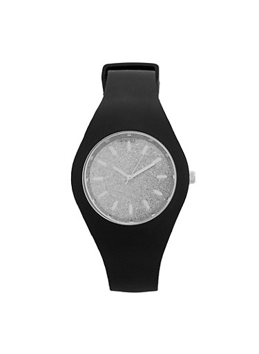 Rubber Glitter Face Watch,SILVER,large