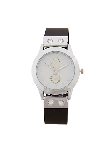 Rubber Strap Rhinestone Accented Watch,SILVER,large