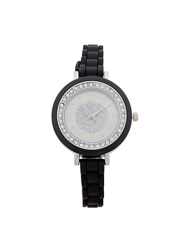Thin Woven Rubber Strap Watch,BLACK,large