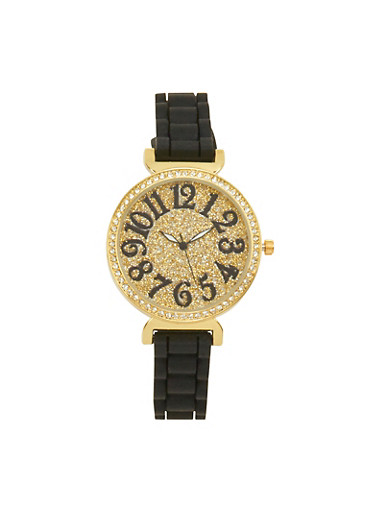 Glitter Rhinestone Watch with Woven Rubber Strap,BLACK,large