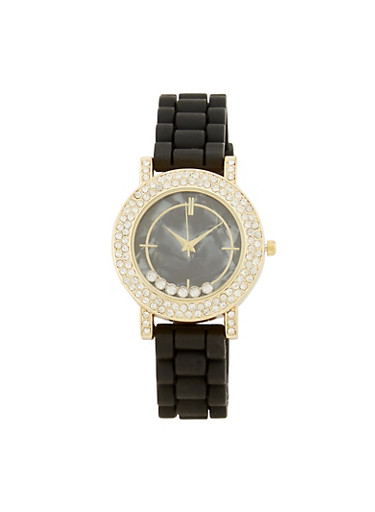 Floating Rhinestone Rubber Strap Watch,BLACK,large