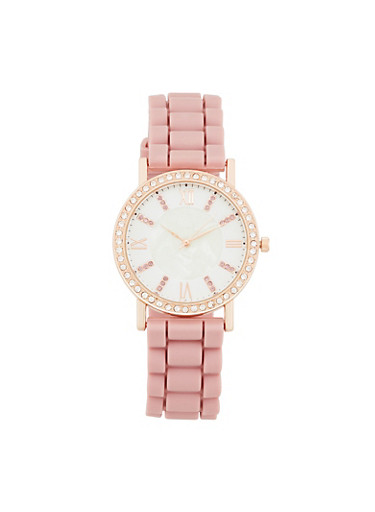 Rhinestone Bezel Rubber Strap Watch,BLUSH,large
