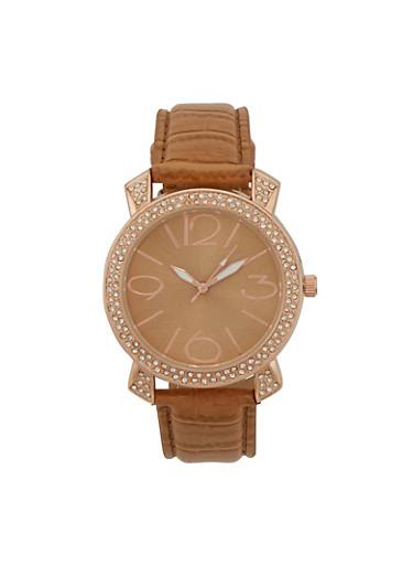 Crystal Bezel Watch,TAN,large