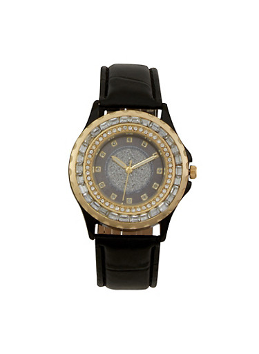 Glitter Face Watch with Jewelled Bezel,BLACK,large