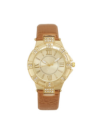 Round Rhinestone Studded Watch with Faux Alligator Skin Strap,TAN,large