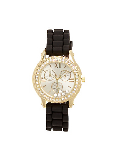 Watch with Crystal Bezel and Floating Crystals,BLACK,large