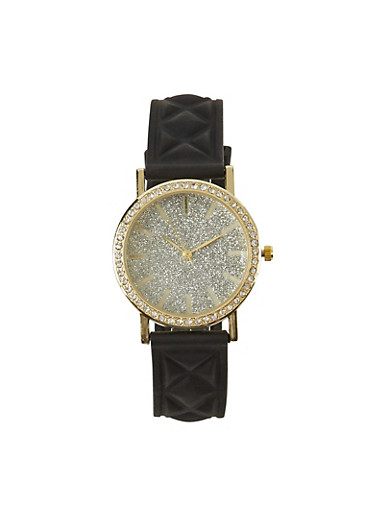 Quilted Watch with Glitter and Rhinestones,BLACK,large