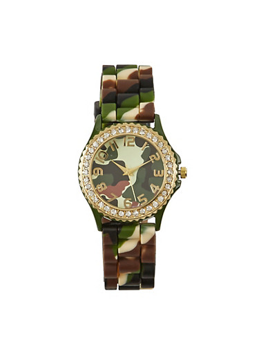 Camouflage Print Watch with Rhinestones,CAMOUFLAGE,large