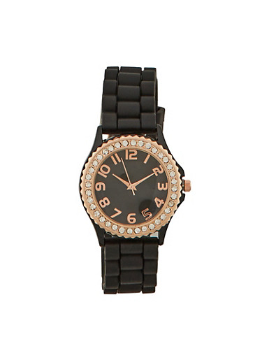 Rhinestone Bezel Watch with Woven Strap,BLACK,large