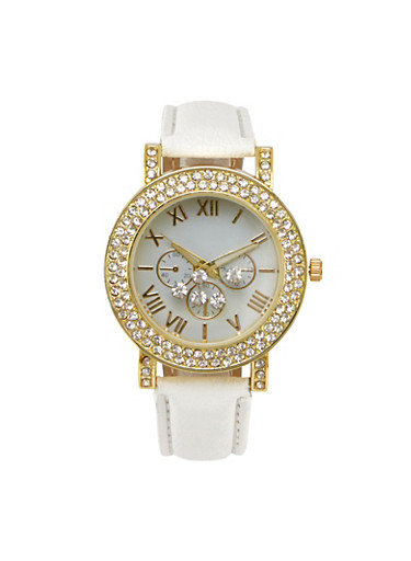Watch with Crystal Bezel and Floating Crystals,IVORY,large