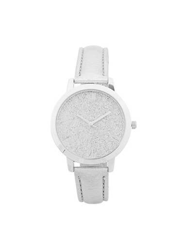 Faux Leather Strap Glitter Face Watch,SILVER,large