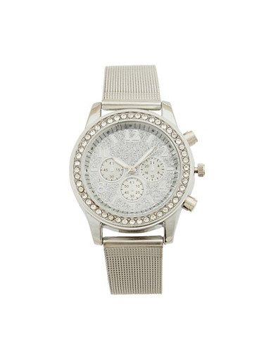 Metal Mesh Strap Glitter Face Watch,SILVER,large