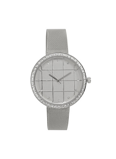 Rhinestone Bezel Metallic Mesh Strap Watch,SILVER,large