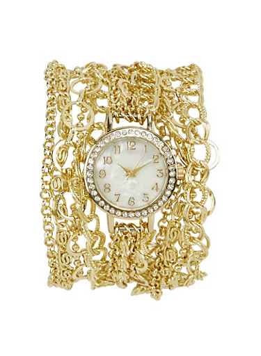 Wrap Chain Watch with Rhinestones,GOLD,large
