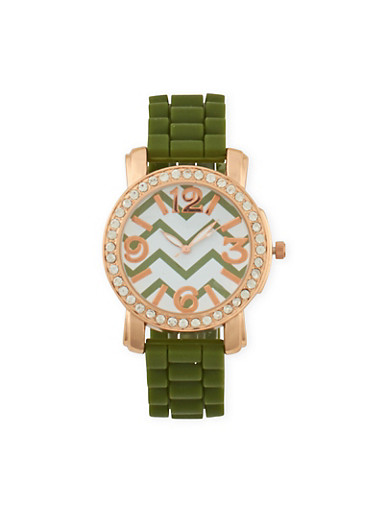 Rubber Watch with Rhinestone Bezel,OLIVE,large