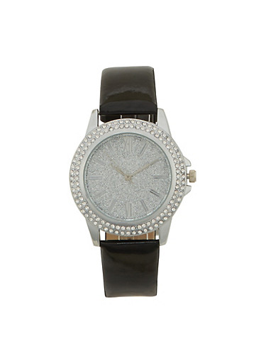 Glitter Face Watch with Patent Leather Strap and Faux Diamonds,BLACK,large