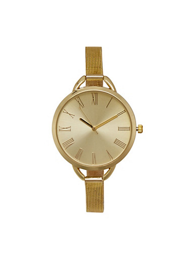 Skinny Mesh Watch with Oversized Face,GOLD,large