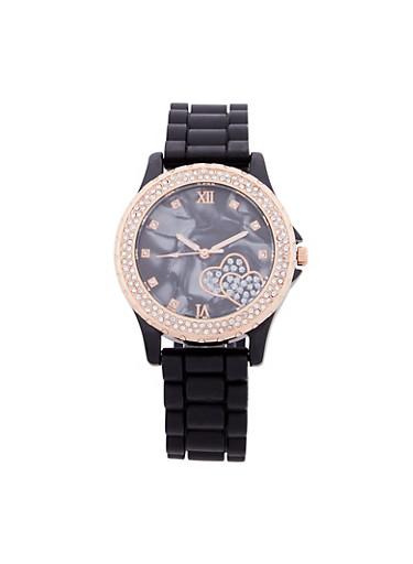 Rhinestone Bezel Faux Marbled Rubber Strap Watch,BLACK,large