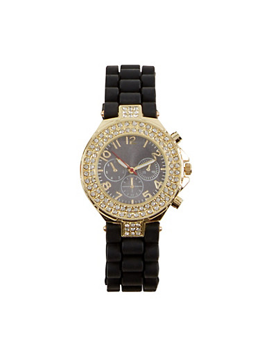 Rhinestone Studded Face Watch with Rubber Band,BLACK,large