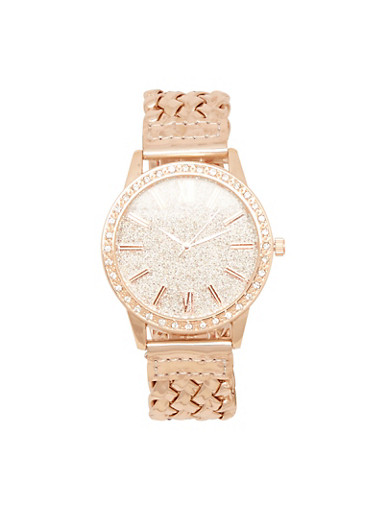 Metallic Watch with Braided Strap and Glitter Face,ROSE,large