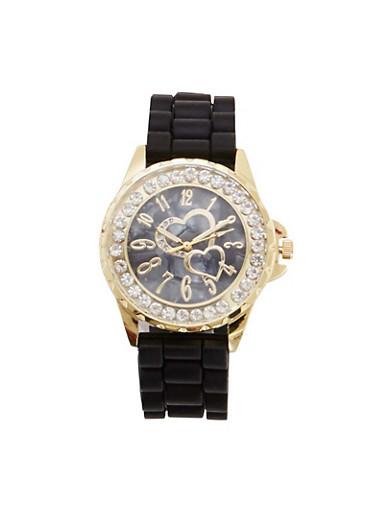 Diamond Bezel Watch with Hearts,BLACK,large