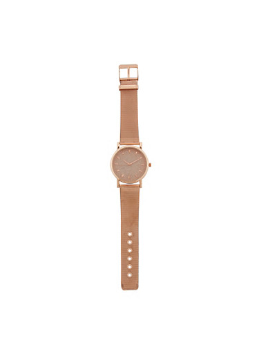 Glitter Face Watch with Metallic Mesh Strap,ROSE,large