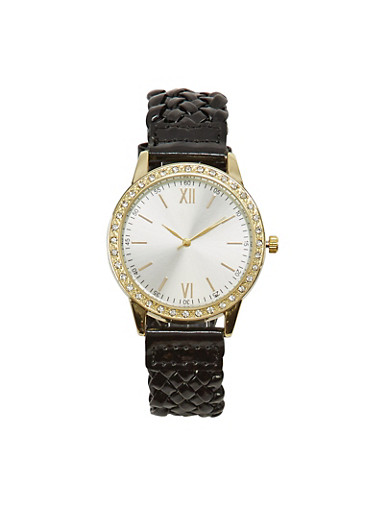Woven Watch with Rhinestones,BLACK,large