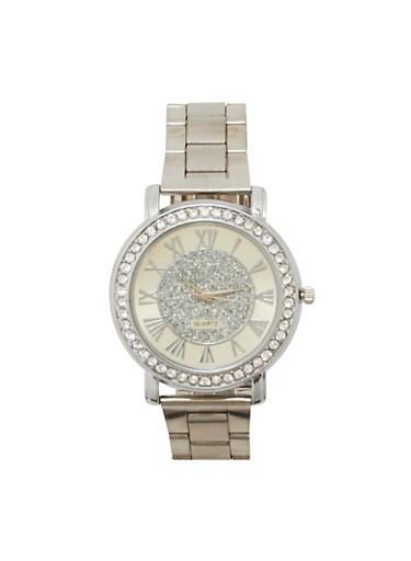 Glitter Face Rhinestone Bezel Watch,SILVER,large