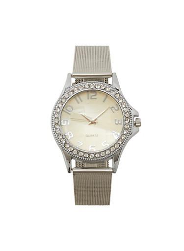 Metallic Mesh Rhinestone Watch,SILVER,large