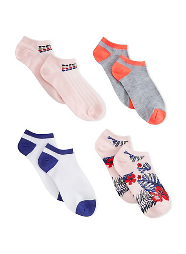 4 Pack of Ankle Socks,PINK,large