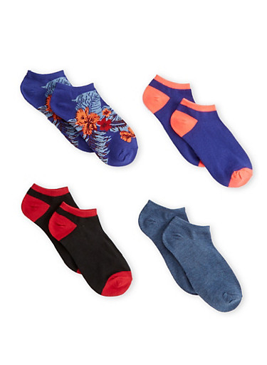 Plus Size 4 Pack Ankle Socks,MULTI COLOR,large