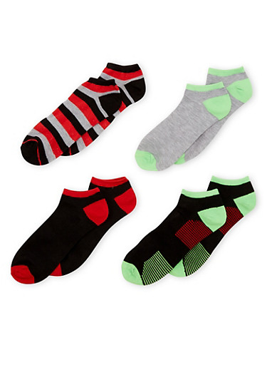 4-Pack Ankle Socks,LIME,large