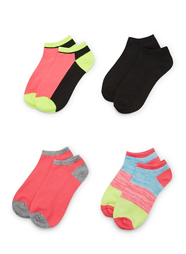 4-Pack of Ankle Socks,NEON LIME,large