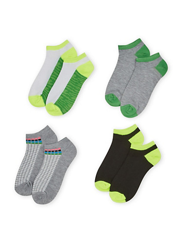 Four Pack of Assorted Ankle Socks with Polka Dot and Camo Prints,LIME,large