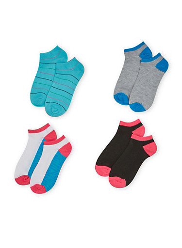 Four Pack of Assorted Ankle Socks with Polka Dot and Camo Prints,TURQUOISE,large