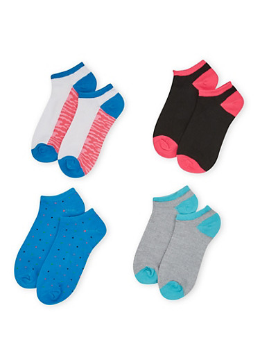 Four Pack of Assorted Ankle Socks with Polka Dot and Camo Prints,AQUA,large