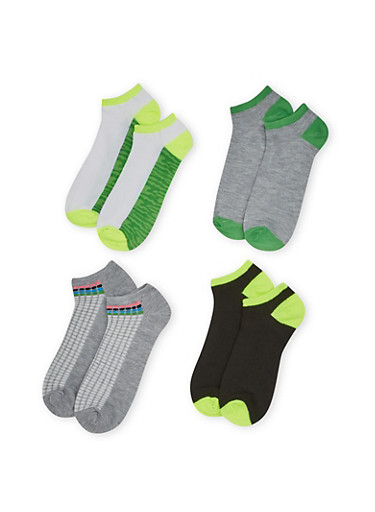 Plus Size Ankle Sock 4 Pack with Neon and Camo Prints,LIME,large