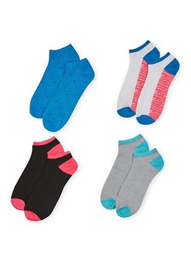 Plus Size Ankle Sock 4 Pack with Neon and Camo Prints,TURQUOISE,large